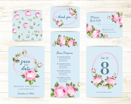 Vintage flowers templates set over wooden background. Wedding flowers bundle. Invitation collection of watercolor detailed hand drawn roses. Vector illustration.