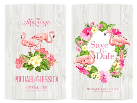 Save the date card with text place and flower frame. Holiday flowers frame for invitation card template. Printable marriage invitation with tropical flowers and flamingos over wooden background.  イラスト・ベクター素材