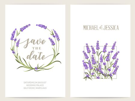Lavender frame for marriage invitation and Save the date. The provence card with frame of flowers and text place. Marriage label with lavender flowers. Vector illustration.