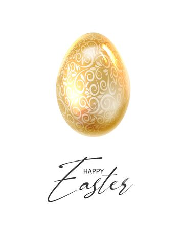 Golden Easter eggs with ribbon bow and black calligraphic text over white background. Vector illustration.
