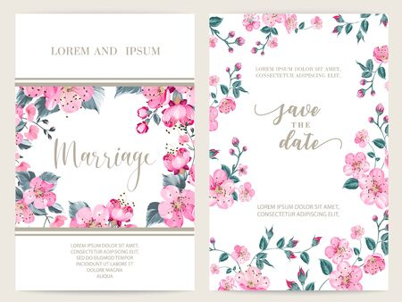 Save the date card with text place and flower frame. Holiday flowers frame for invitation card template. Printable marriage invitation with sakura flowers over white background. Vector illustration.