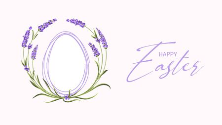 Blooming Lavender flowers around contour of easter egg with curves of calligraphic text. Holiday card on the white background. Template for your design. Vector illustration.