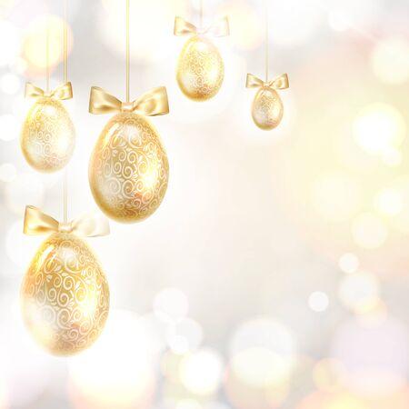 Golden Easter eggs over blurred bokeh and gray background. Vector illustration. Banque d'images - 138469346