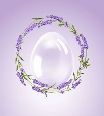 Lavender flowers around contour of easter egg with curves of calligraphic text. Holiday card on the white background. Template for your design. Vector illustration.  イラスト・ベクター素材