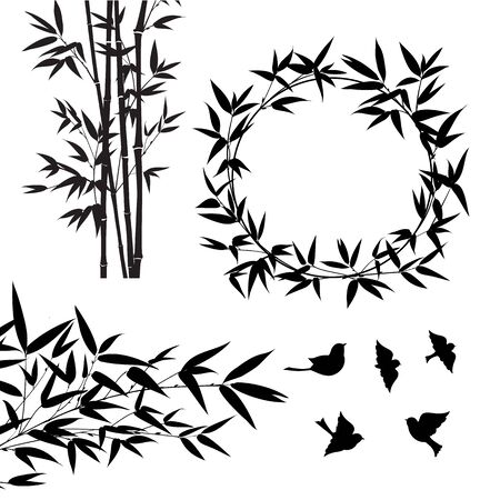 Set of tropical bamboo elements. Collection of palm leaves on a white background. Vector illustration bundle.