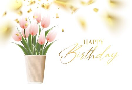 Happy birthday card template with golden confetti background. Hand drawn tulips. Tulip bouquet in paper cup vase isolated over white. Vector illustration. Foto de archivo - 138468577