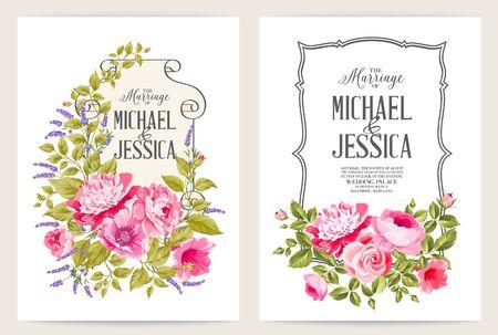 Bridal Shower invitation with flowers over white paper. Wedding menu, information, label and place card design with elegant pink garden rose. Vector illustration.