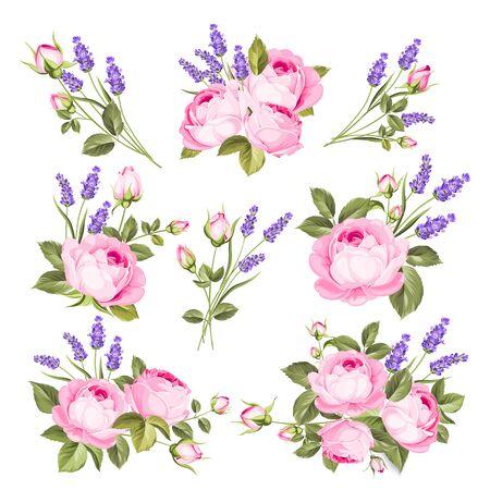 Vektor-Set von blühenden Blumen. Frühling, romantisches elegantes Datumsheiratssymbol des Sommerhochzeits. Rosen- und Lavendelgirlande, Blumenstrauß für Ihre Vorlage, Gestaltung der Einladungskarte. Vintage-Illustration.