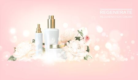 Chrysantemum cosmetic label of organic cream and skin care lotion. Rose aroma oil and cream. Moisturizer with Vitamins and Regenerate Cream containes aromatic essence. Beauty skin care design.