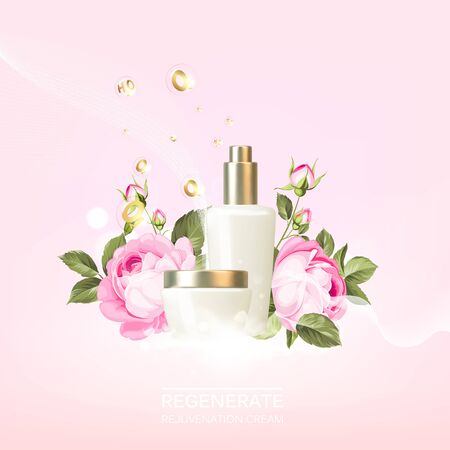 Rose cosmetic label of organic cosmetic and skin care cream. Roses oil and cream. Moisturizer with Vitamins and Regenerate Cream containes lavender essence. Beauty skin care design over pink. 向量圖像