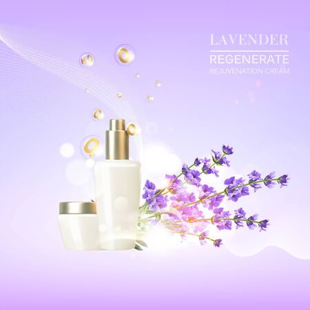 Lavender cosmetic label of organic cosmetic and skin care cream. Lavender cream and oil. Moisturizer with Vitamins and Regenerate Cream containes lavender essence. Beauty skin care design over violet. 向量圖像