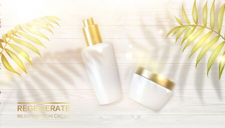 Jar of cream on wooden background and shadows of golden palm leaves. Regenerate face cream and Vitamin complex concept. Moisturizer with Vitamins and Regenerate Cream. Vector illustration.