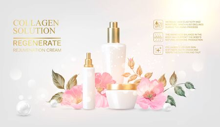 Peony cosmetic label of organic cosmetic and skin care cream. Peonies oil and cream. Moisturizer with Vitamins and Regenerate Cream containes rose essence. Beauty skin care design over pink.