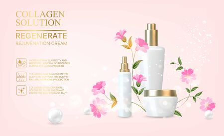 Awesome bouquet of linum flowers and bottle, jar with a regenerate cream for your body. Skin shampoo cosmetics, plastic tube with vitamin complex for spa relax. Flower flax wreath on pink background.