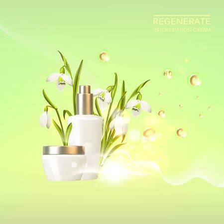 Awesome bouquet of snowdrop galantus and bottle, jar with a regenerate cream for your body. Skin shampoo cosmetics plastic tube with vitamin complex for spa relax. Flower wreath on green background. 向量圖像