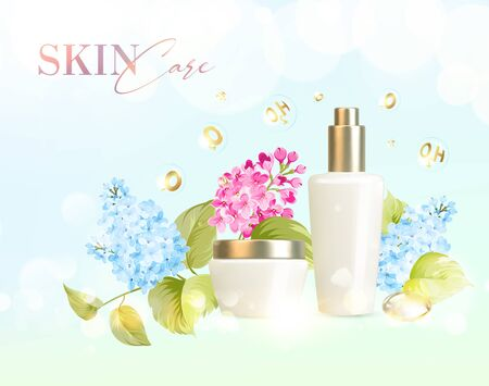 Bottle for cosmetic lotion and jar of cream. Regenerate cream for hands, white bottle over pink background with blossom lilac flowers composition. Moisturizer with Vitamins and Regenerate Cream vector 向量圖像