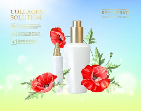 Bottle for cosmetic lotion. Regenerate cream for hands, white bottle over blue background with blossom poppy flowers composition. Jar with poppy cream on blue background.