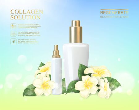 Bottle for cosmetic lotion and jar of cream. Regenerate cream for hands, white bottle over blue background with blossom plumeria flowers composition. Vector illustration. Illustration