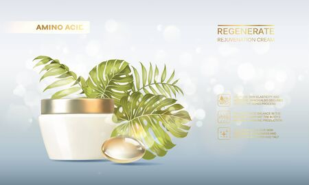 Bottle for cosmetic lotion and jar of cream. Regenerate cream for hands, white bottle over blue background with tropical palm leaves composition. Vector illustration.