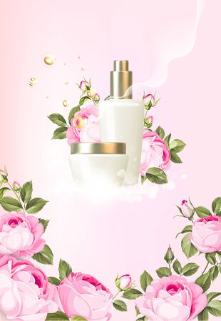 Rose cosmetic label of organic cosmetic and skin care cream. Roses oil and aloe cream. Moisturizer with Vitamins and Regenerate Cream containes aloe essence. Beauty skin care design over pink. 向量圖像