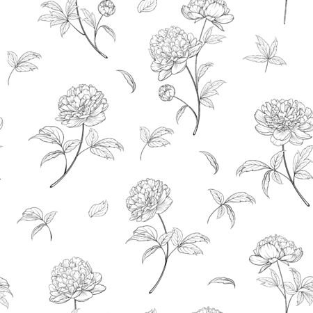 Seamless wallpaper of of Peonies flowers elements. Digital flat illustration of blossom peony seamless pattern from elements on a white background. Bouquet of Peony. Decoration isolated against white.