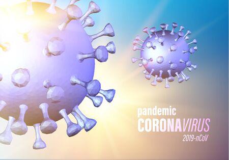 Covid-19 is a fast-growing global pandemic. Coronavirus evident symptoms of disease medical illustration. Danger disease similar to flu. Computer model of virus 19-nCov. Vector illustration. Illusztráció
