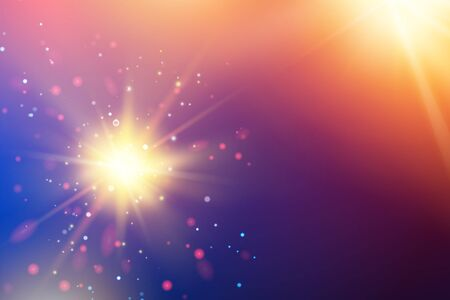 Bright fire sparks over deep ultraviolet space background. Cosmic sunrays for futuristic travel design. Vector illustration.