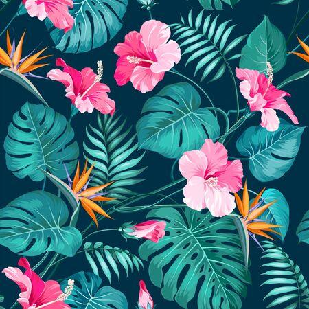 Blossom flowers for seamless pattern background. Tropical flower fashion pattern. Tropic flowers for nature background. Vector illustration. Vettoriali