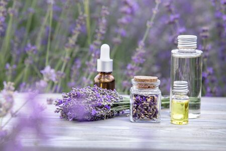 Essential lavender oil in the bottle with dropper on the gray wooden desk. Horizontal close-up. Banque d'images