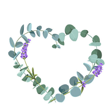 Eucaliptus and lavender elements design template. Simple design with frame flowers. Herbal vector frame. Vecteurs