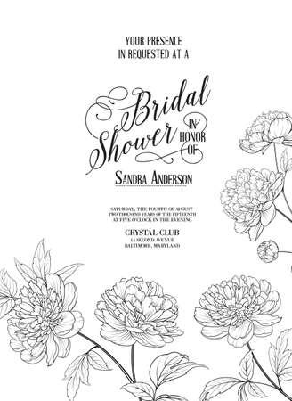 Bridal Shower Vertical Card announcement. Line contour of flowers.