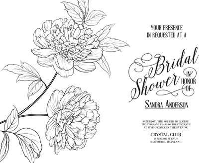 Bridal Shower Horizontal Card announcement. Line contour of flowers. Illustration