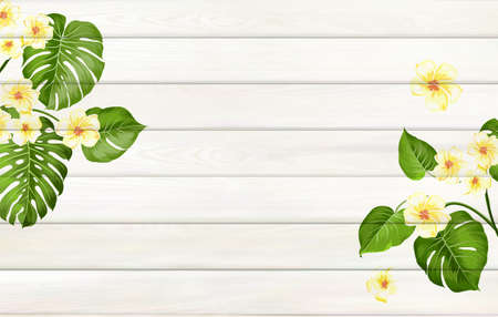Tropical template for your design. Plumeria leaves on wooden background with empty space Illustration
