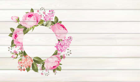 Flower background for your design. Rose and leaves on wooden background with empty space Illustration