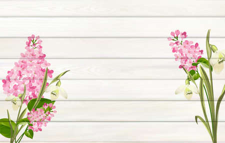 Lilac background for your design. Flower leaves on wooden background with empty space