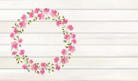 Flower background for your design. Plumeria leaves on wooden background with empty space