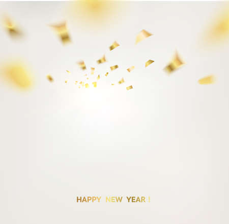 Golden confetti falls isolated over white background. Vector illustration.