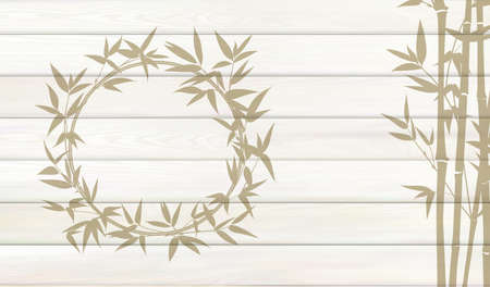 Bamboo background for your design. Tropical leaves on wooden background with empty space.