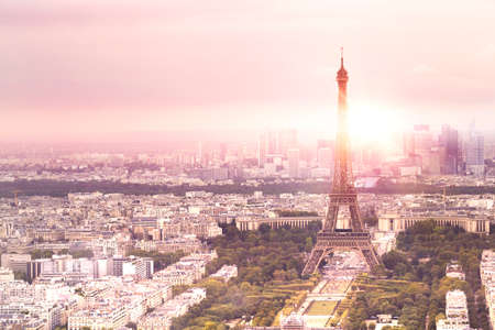 Sunset Eiffel tower and Paris city view form Triumph Arc.