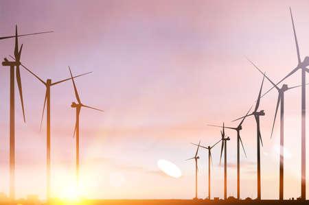 Wind turbines and renewable energy source in beautiful sunset. Vektoros illusztráció