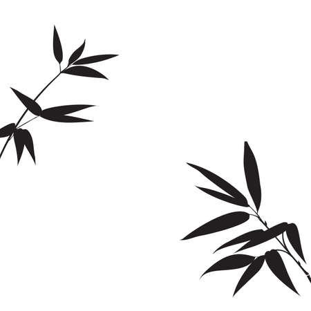 Decorative bamboo branches isolated on white background. 矢量图像