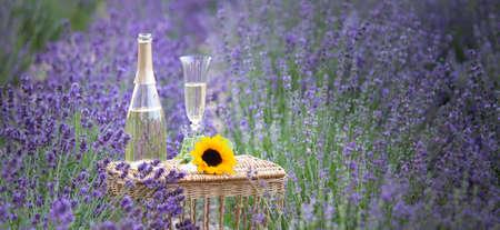 A bottle of champagne in a purple lavender field. 免版税图像