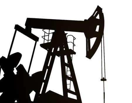 Darck silhoutte of oil rig and pumps during. Vektorgrafik