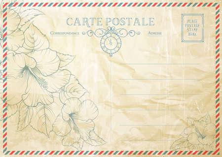 Vintage postcard background template. Vector illustration