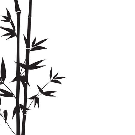 Decorative bamboo branches isolated on white background. Ilustracja