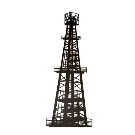 Darck silhoutte of oil rig and pumps during. 矢量图像