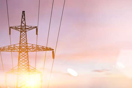 High voltage tower on sunset sky. 矢量图像