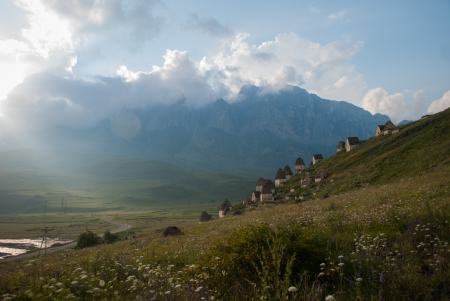 cemetry: Old cemetery in mountains in Dargavs, North Ossetia