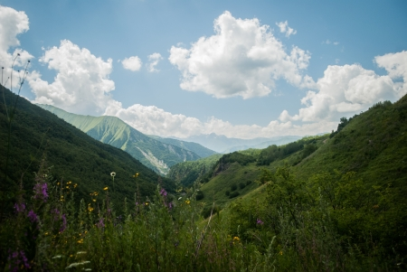 caucas: Caucasian Mountains in South Ossetia in summer Stock Photo