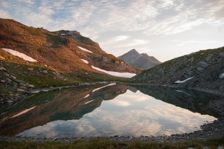 caucas: Mountain lake in Caucasian mountains in summer Stock Photo